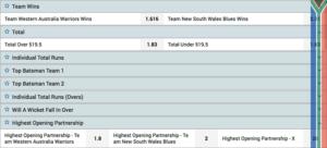 1xbet cricket odds