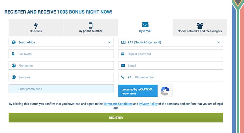 1xbet registration via an e-mail