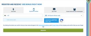 1xbet registration via phone number
