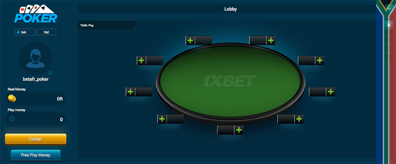1xbet poker rooms