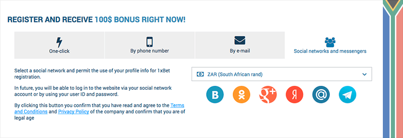 1xbet registration by using an account in social medias or messengers