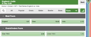 Betway cricket bet types