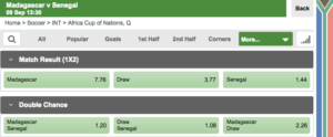Betway soccer bet types