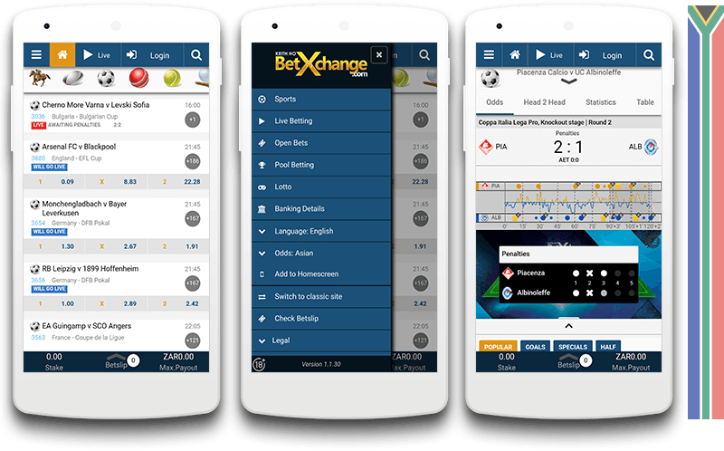 Betxchange mobile view