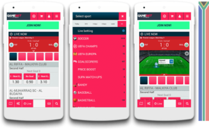 Gamebet mobile view
