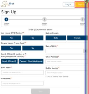 Sunbet registration process