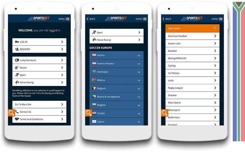 Sportsbet mobile view