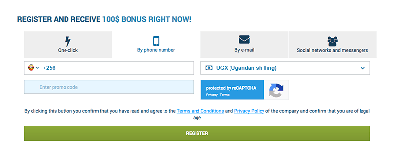 1xbet phone registration